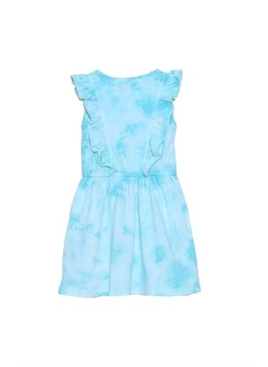 Silversun Kids Kız Çocuk Batik Desenli Kolları Fırfır Detaylı Belden Lastikli Örme Elbise - Ek 216074 Yeşil